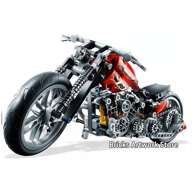 378pcs 3354 Fit Legoness Technic 8051 Motorbike Motorcycle Harley Set building DIY blocks Educational toys for Kids Xmas Gifts