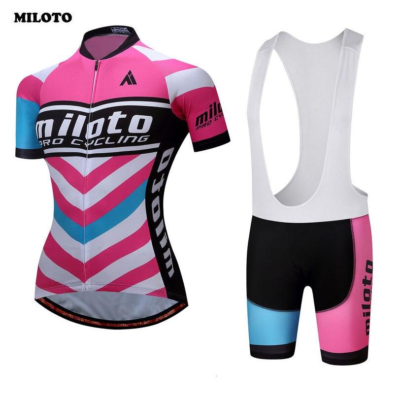 MILOTO 2017 Cycling <font><b>Jersey</b></font> Ropa Ciclismo Bike <font><b>Women</b></font> Bicycle Outdoor Sports Wear Shirt Short Sleeves Tops Bib Shorts Sets S-4XL