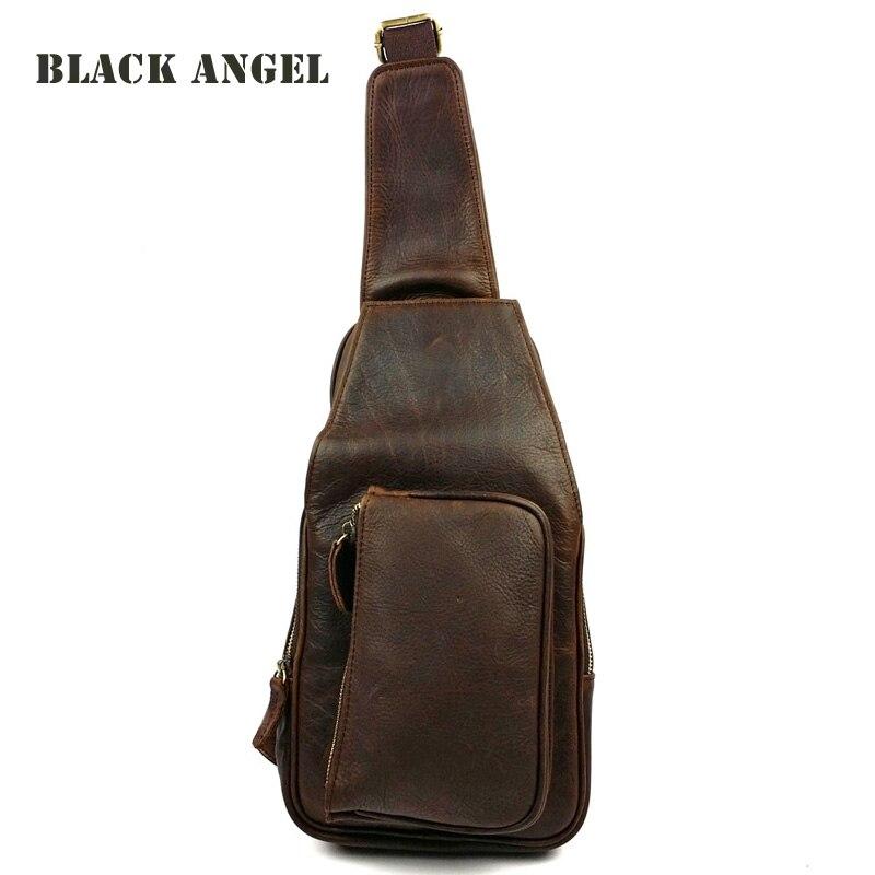 New Design Tide Men Genuine leather Chest Bag Travel motorcycle men s Shoulder Sling bag crazy