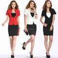 Novos 2015 mulheres trabalho desgaste ternos saias para OL escritório Ladies Blazer de verão frete grátis tamanho S-XXL