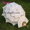"""Caliente venta 30 """" blanco bordados hechos a mano encaje Parasol paraguas de Sun + del cordón del ventilador nupcial boda cumpleaños Party Decoration"""