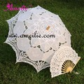 "Hot Sale 30"" White Handmade Embroidered Lace Parasol Sun Umbrella + Lace Fan Bridal Wedding Birthday Party Decoration"