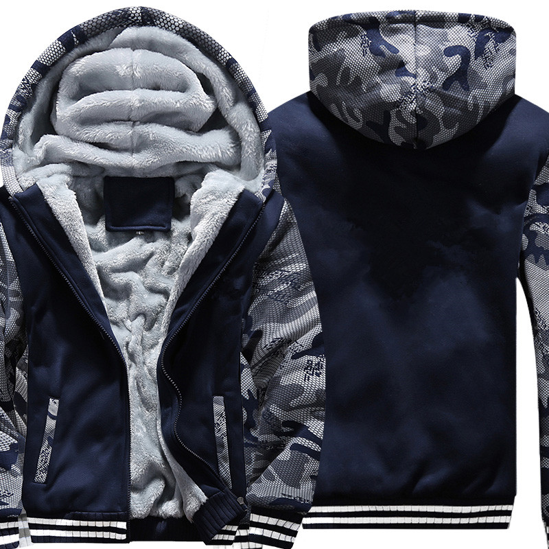 Нам/EU Размер супер теплые толстовки для Для мужчин зимние толстые флисовые Для мужчин Куртки Повседневное на молнии с капюшоном для взрослы...