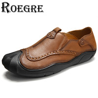 ROEGRE New Designer 2017 Men Slip On Loafers Handmade Genuine Leather Men Outdoor Moccasins Brown Khaki
