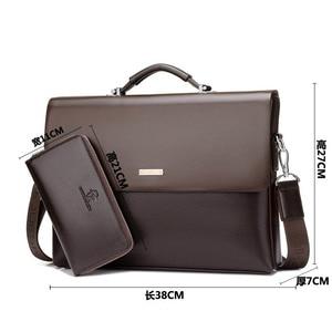 Image 3 - Mens Briefcase Portfolio Mens bag over the shoulder Laptop bags pu Leather Shoulder bag office Belt bag Messenger
