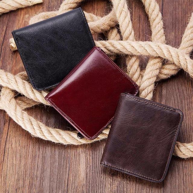 billetera de Hombre de cartera de 100% de cuero genuino de los hombres, cartera Vintage de cuero de vaca Portomonee hombre Cuzdan corto moneda monedero cartera titular de la tarjeta