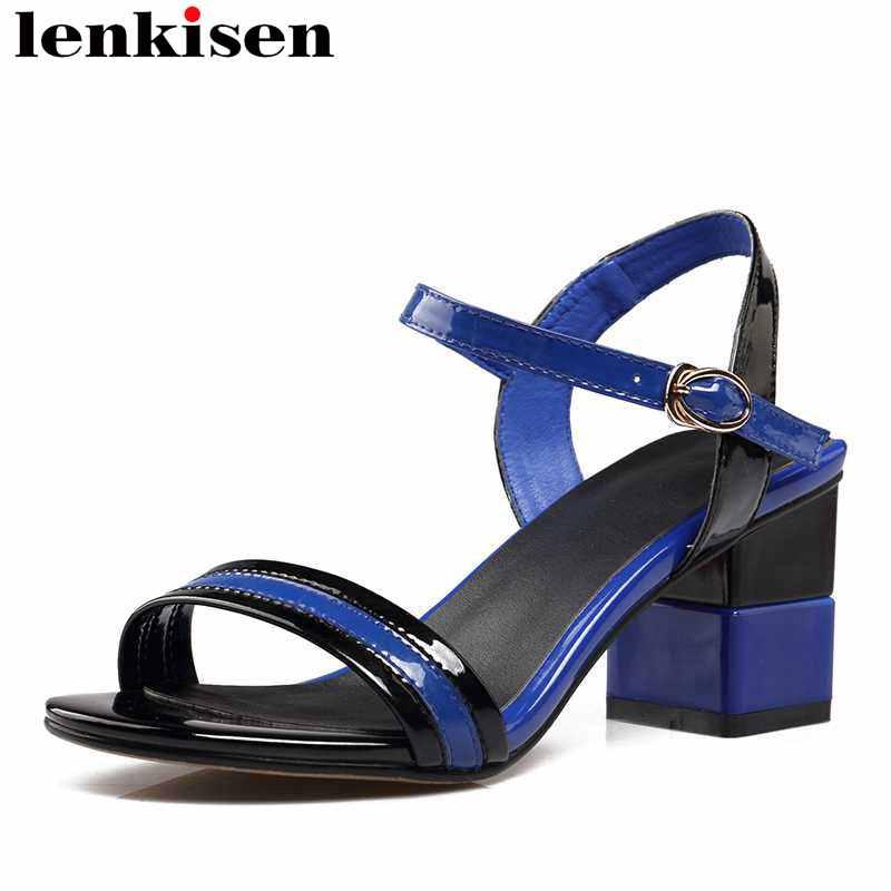 Lenkisen pu high square heels peep toe classic pop mixed colors shoes buckle strap original designer big size women sandals L88
