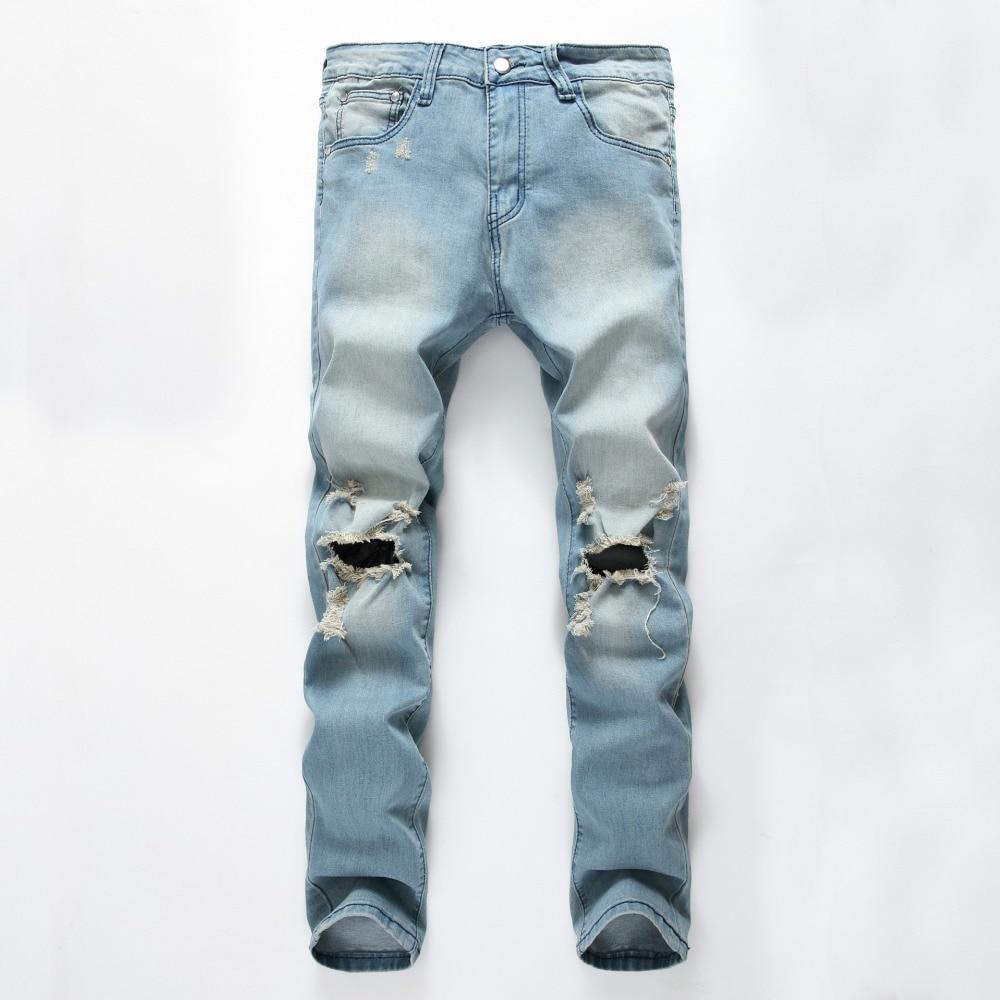 2018 Fashion Design Men Skinny Jeans Design Fashion Biker Strech Jeans For Men Snow Wash Jeans