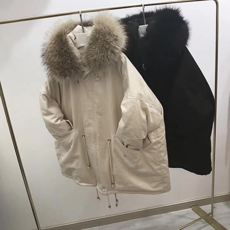 Свободный крой природные енотовидная собака меховым воротником модные белые куртки пуховики женские пуховики Верхняя одежда 2018 на осень з