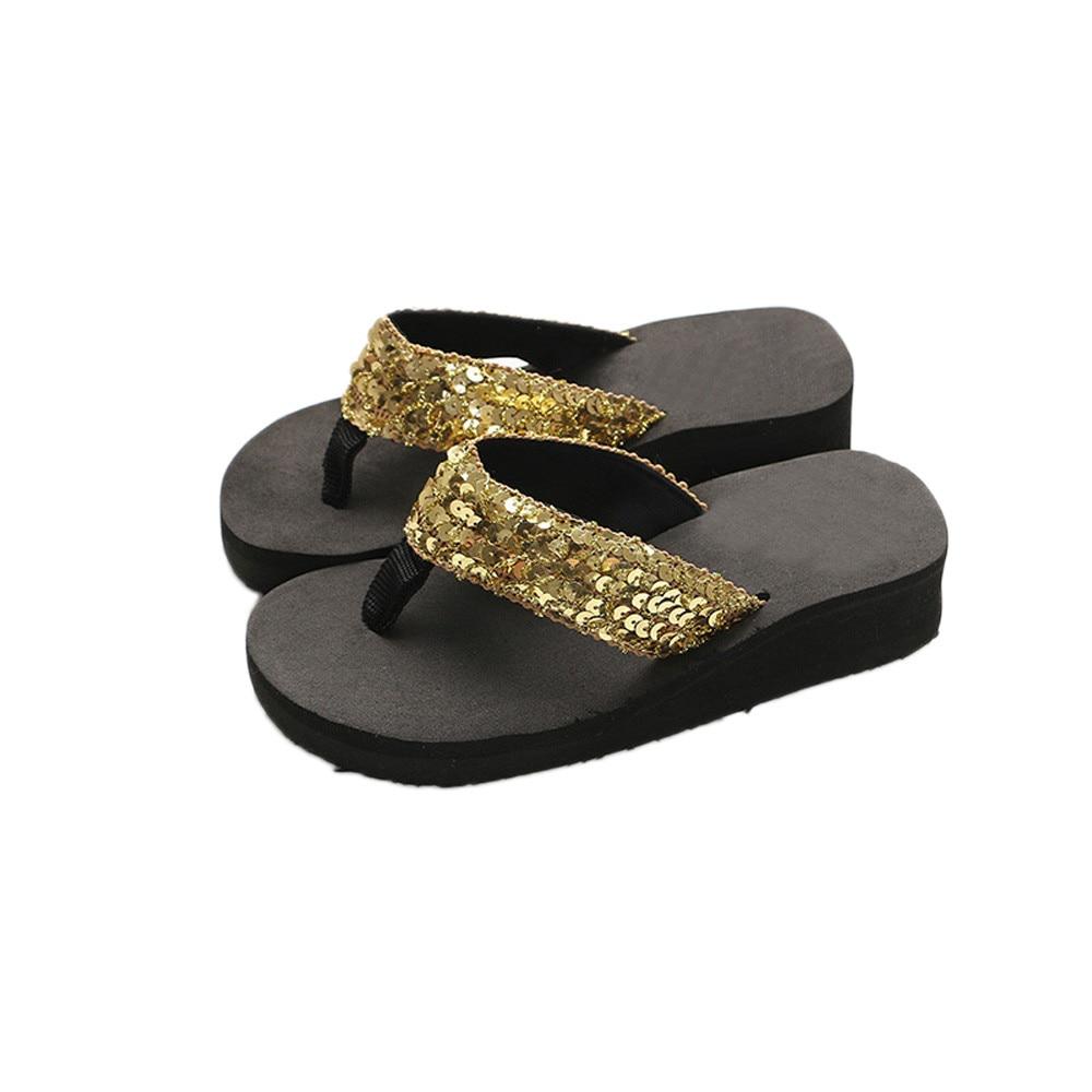 HTB1RS14cQ5E3KVjSZFCq6zuzXXaw Summer Women Flip Flops Casual Sequins Anti-Slip slippers Beach Flip Flat Sandals Beach Open Toe Shoes For Ladies Shoes #L5