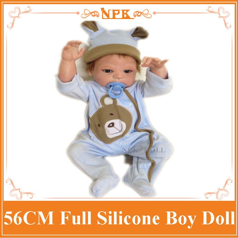 New Full Silicone Baby Boy Dolls About 56cm Dressed In Blue Clothes with Nice Hat The