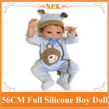New Full Silicone Baby Boy Dolls About 56cm Dressed In Blue Clothes with Nice Hat The Best Playmate for Children Brinquedos