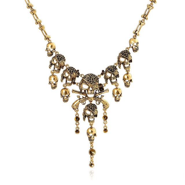 Lzhlq винтажное многослойное ожерелье с бахромой в виде скелета