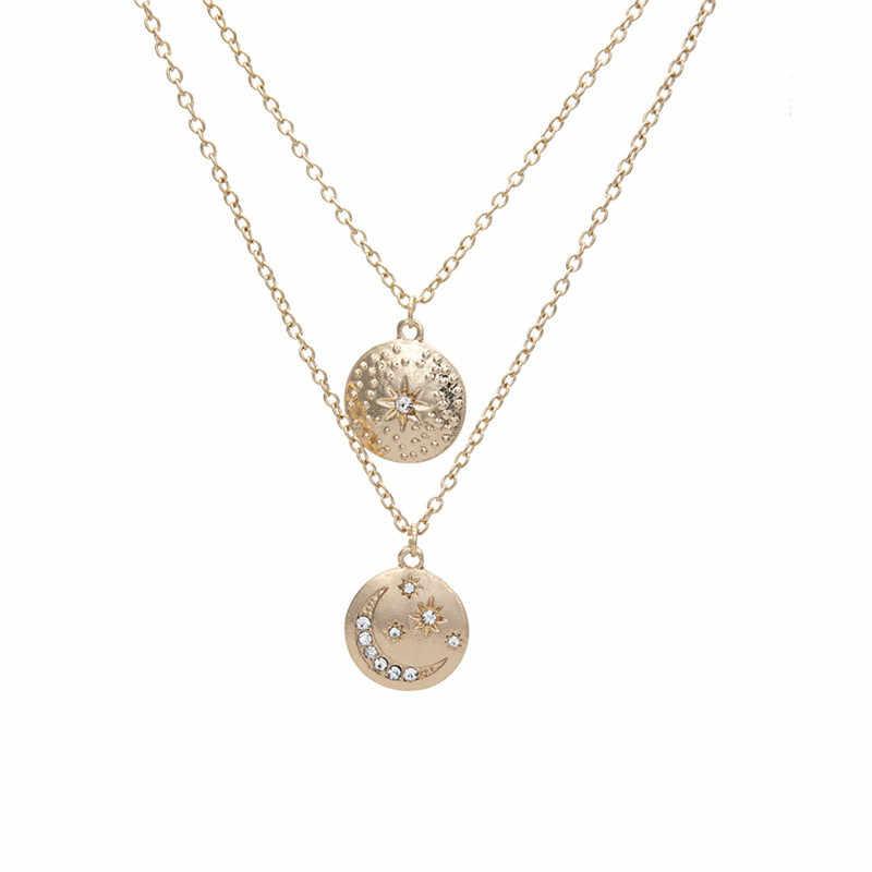 Ahmed Vintage Ay yıldız kristal Kolye Kolye Lady çift zincir Kolye Takı Bohemian Moda Çok Katmanlı Yuvarlak Kolye