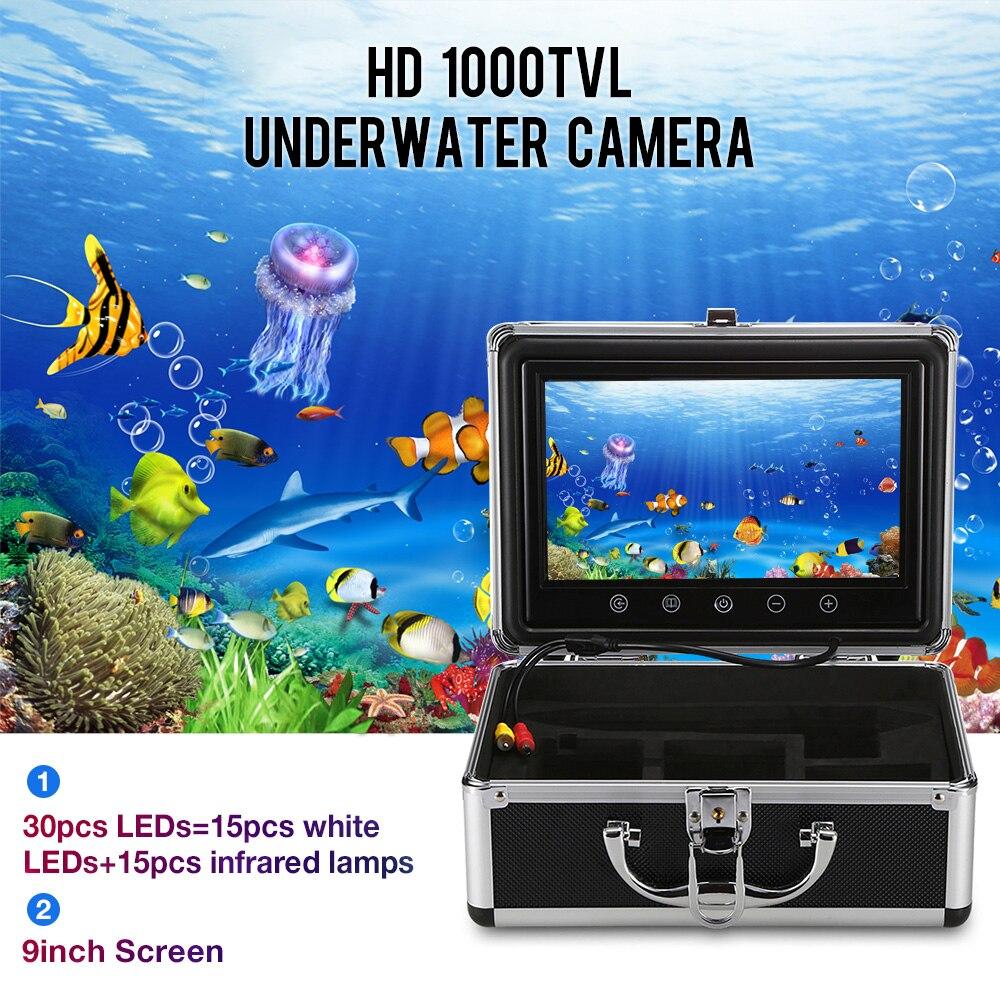 Outlife 9 pouces moniteur 15 M 1000TVL détecteur de poisson sous-marin pêche vidéo caméra 30 pièces led étanche détecteur de poisson capteur CMOS