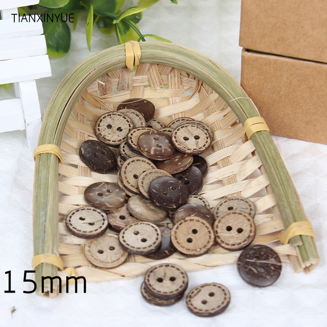 50 pcs 15mm 2-Holes DIY Circular Wooden Buttons Laser Marking Wood Button Clothing Accessories
