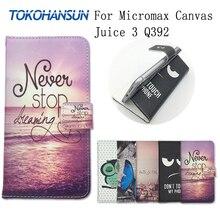Для Micromax Canvas Juice 3 Q392 случае кожи Роскошные Флип Бумажник Обложка чехол PU кожа мультфильм живопись Чехлы tokohansun бренд