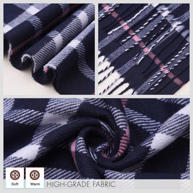 Plaid Winter Warm Foulard Solid Fashion Casual Cashmere Scarfs 5