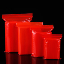 12Wires Thickened PE Ziplock Bag 100pcs/Lot Red Color Zipper Bags Self Sealing Plastic Food Poly
