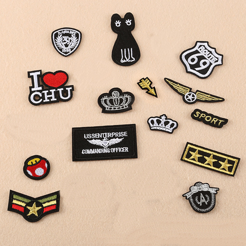 Gold Line Small Repair Badge Patch Embroidered Patches For Clothing Iron On Close Shoes Bags Badges Embroidery DIY