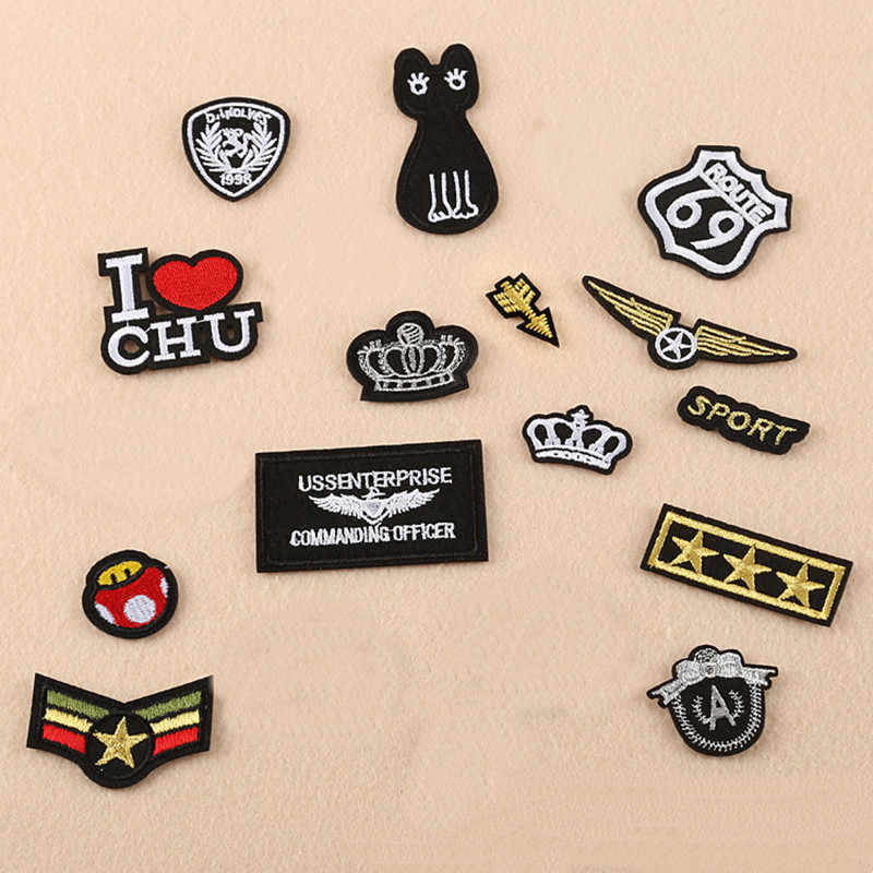 Gold Line Small Repair Badge Patch Embroidered Patches For Clothing Iron On For Close Shoes Bags Badges Embroidery DIY