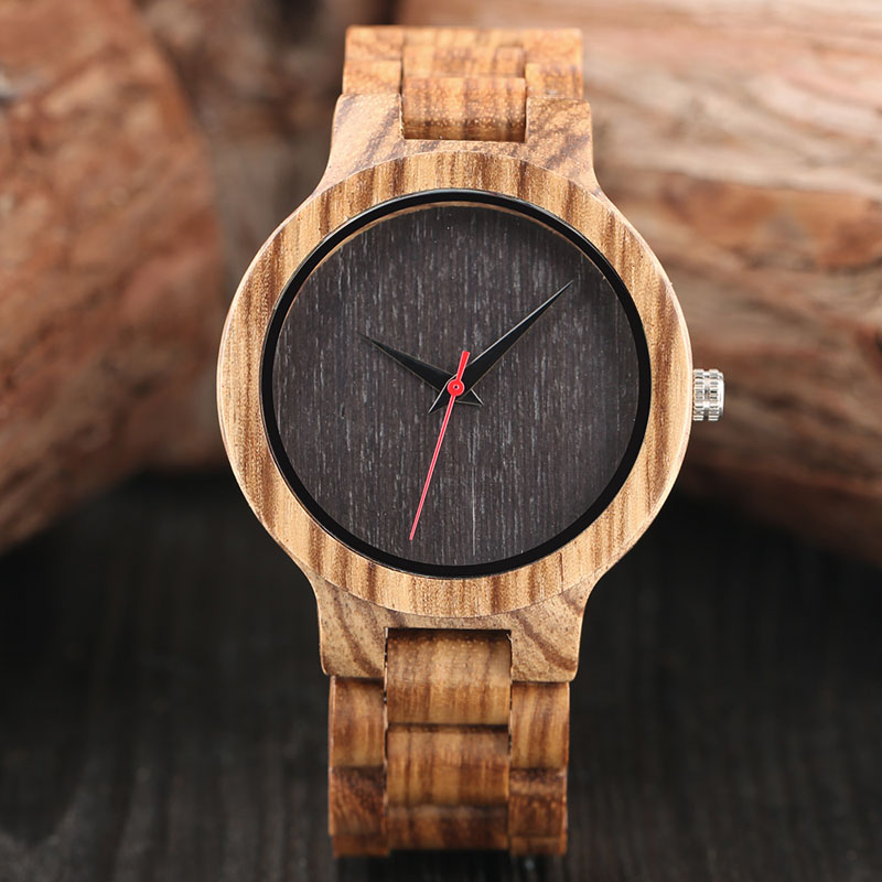 Unique Men Creative Wood Watches Full Natural Bamboo Handmade Wooden Sports Quartz Wristwatch Top Quality Red Second Hands Clock zazac natural wood simple style watch men genuine leatehr casual bamboo watch handmade wooden quartz wristwatch women gift