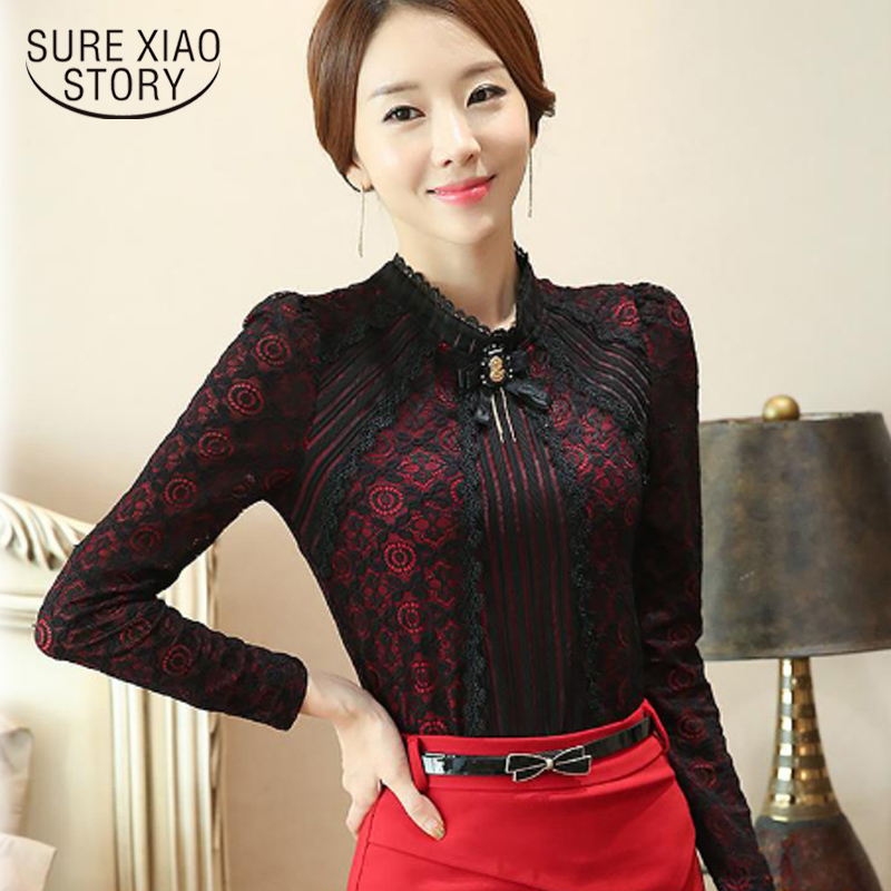 2016 Autumn Winter Fashion Lace   Blouse   Long Sleeve thin Floral Lace   Shirt   Women Tops Elegant fashion bottoming 801G 25