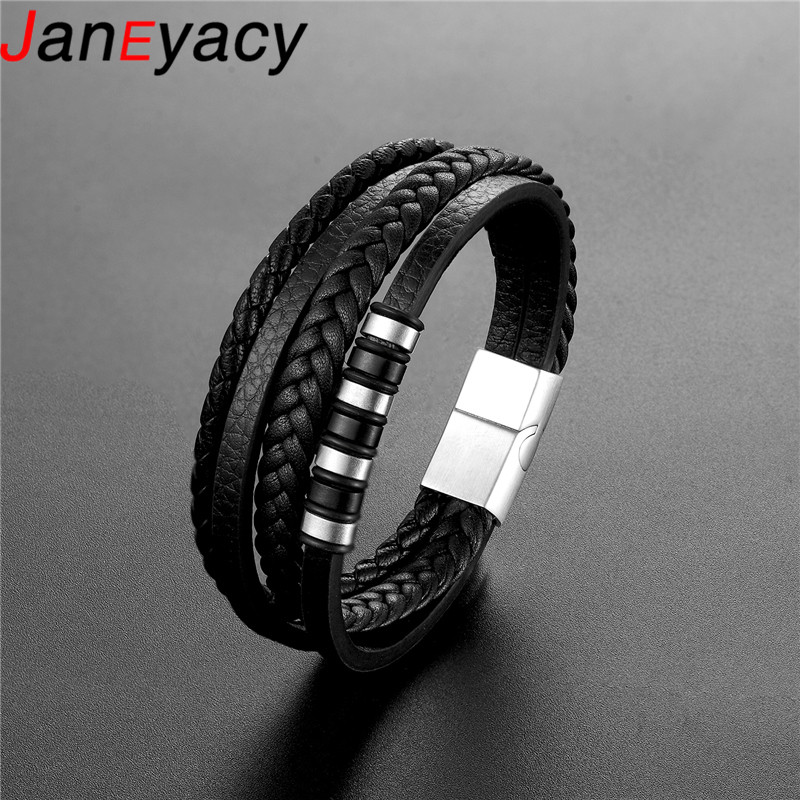 2019 Wholesale Price Classic Genuine Leather Bracelet For Men Hand Charm Jewelry Multilayer Magnet Handmade Gift For Cool Boys