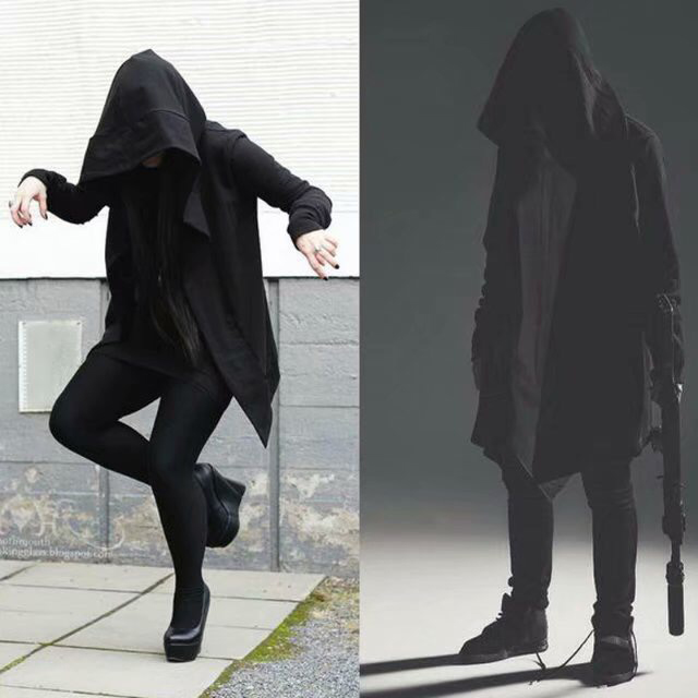 Autumn Hip Hop Mantle Hoodies Sweatshirts Men Women Black Gown  Long Sleeve Cloak,Assassin's Creed Hoodie