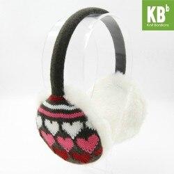 2018 KBB Frühling 3 Farben Herz Muster Mode Dame Kinder Kinder Frauen Männer Knit Warm Plüsch Faux Pelz Winter Ohrenschützer