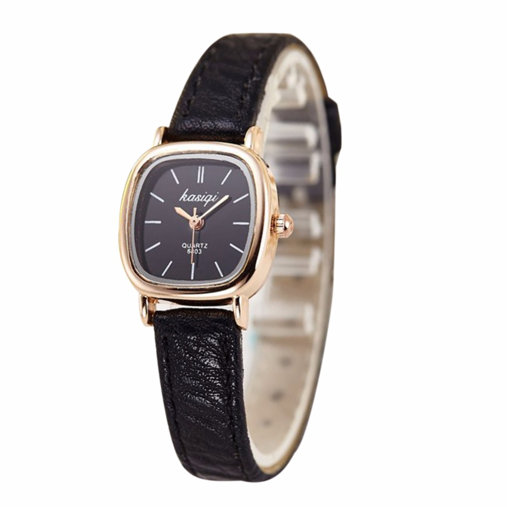 Fashion Luxury font b women b font watches Casual Thin PU Leather Strap Square Quartz Watch