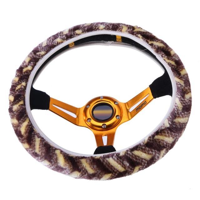 Cubierta del volante del coche de felpa de invierno suave elástico cálido 36/38/40 cm volante del coche protector cubierta accesorio Interior automático