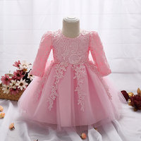 2017 Dress For Girl Long Sleeve White Baptism Dresses Baby Girl 1 Year Birthday Wear Toddler