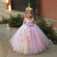Girls Unicorn Pony Costume Flowers Rainbow Princess Costume for Halloween Wedding Tutu Dresses For Girls Vestidos fantasia
