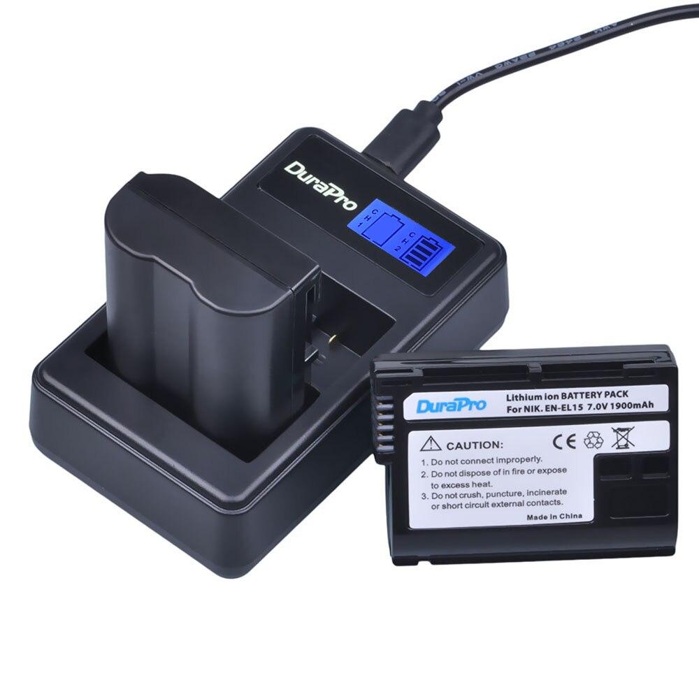 2 x DuraPro EN-EL15 ENEL15 EN EL15 batería + LCD cargador Dual USB para Nikon D800E D800 D600 D7100 D7000 d7100 V1 MB-D14 Cámara