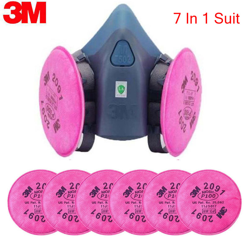 3M 7502 2091 P100 Industry Work Mask 7 In 1 Suit Paint Dust Mask Respirator Spray Dust Respirator Fliters
