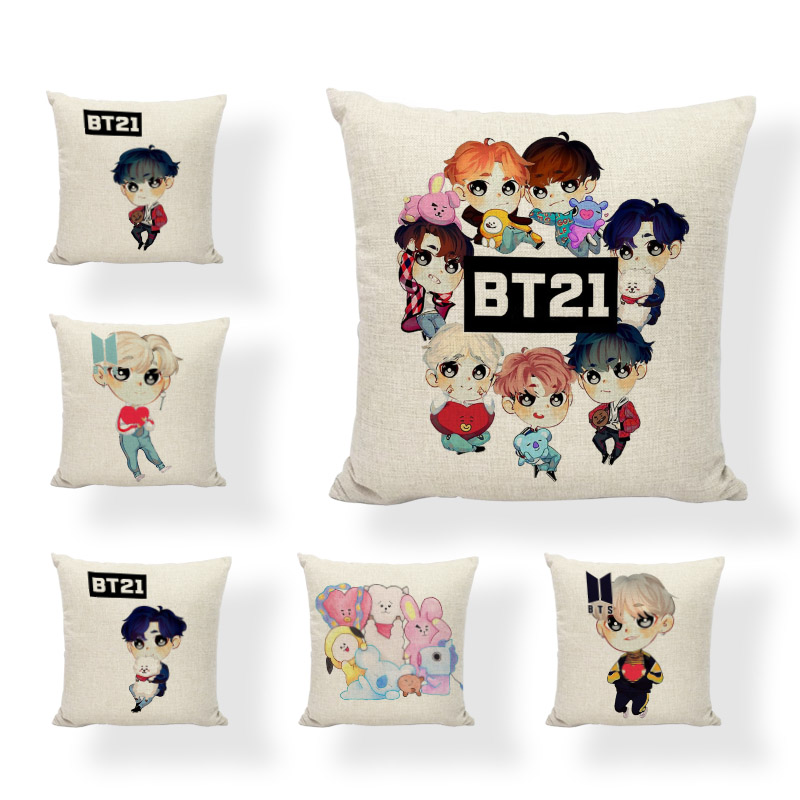 BT21 Gifts New Cushion Covers TATA Red Heart COOKY Bunny Decoration For Home Printed Lovely KOYA Koala Decor Throw Pillow Cases