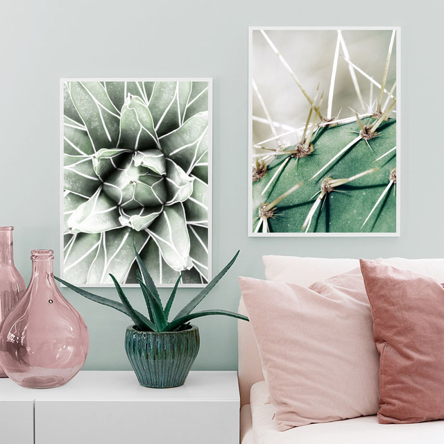 Green Cactus Succulent Orchid Leaves Wall Art 1