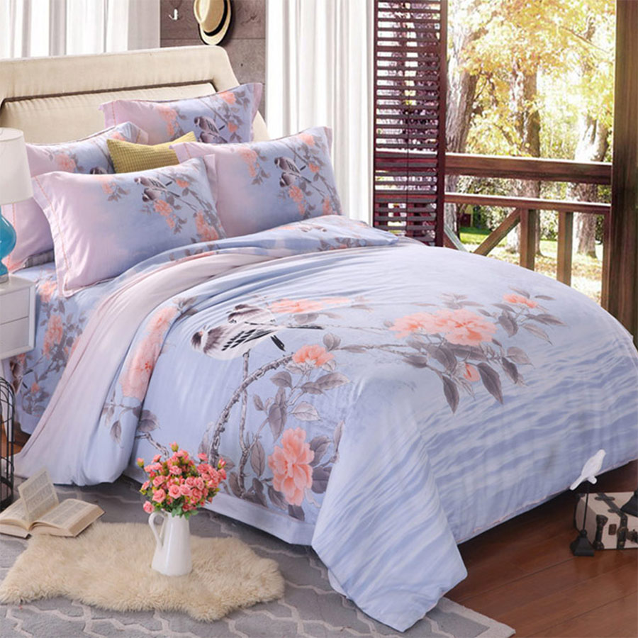 Colorful flower bedding - Pastoral Flower Bedding Sets Adult Teen Girl Full Queen King Rustic Floral Bird Home Textiles