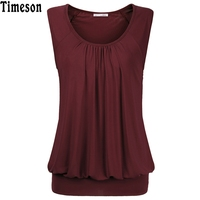 Womens Sleeveless Pleated Summer Tunic Top Women Camisole 2017 Summer Style Casual Tank Tops Elegant Solid