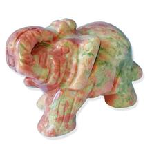 1.5-Inch Elephant Animal Pocket Stone Carved Statue Figurine Jade Home Decoration Gift Ornament
