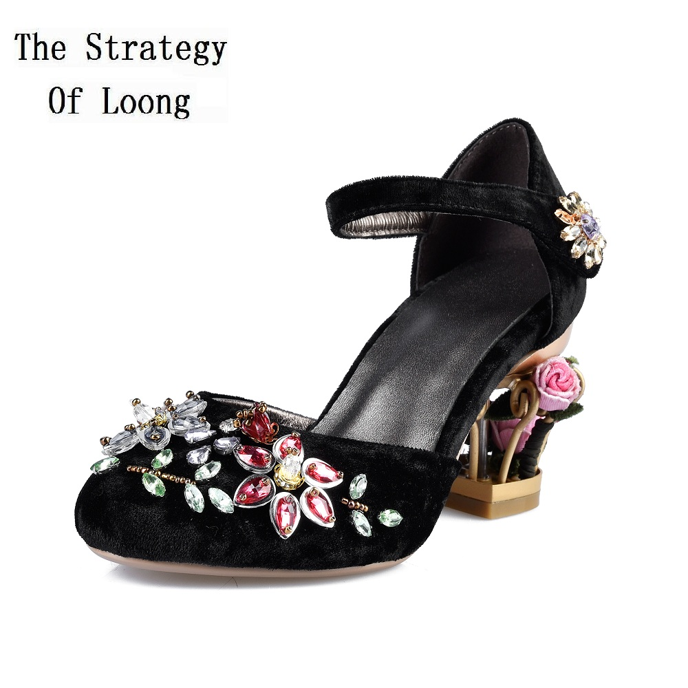 Women Cut Out Flowers Heels Crystal Gold Velour Sandals Gold Velour New Arrival Pleuche Rhinestone Thick
