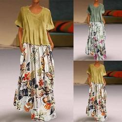 Damska na co dzień w stylu Vintage, lato suknie drukowania Patchwork O-Neck dwa kawałki Plus rozmiar kieszenie Maxi lniana Sukienka Sukienka #7 5