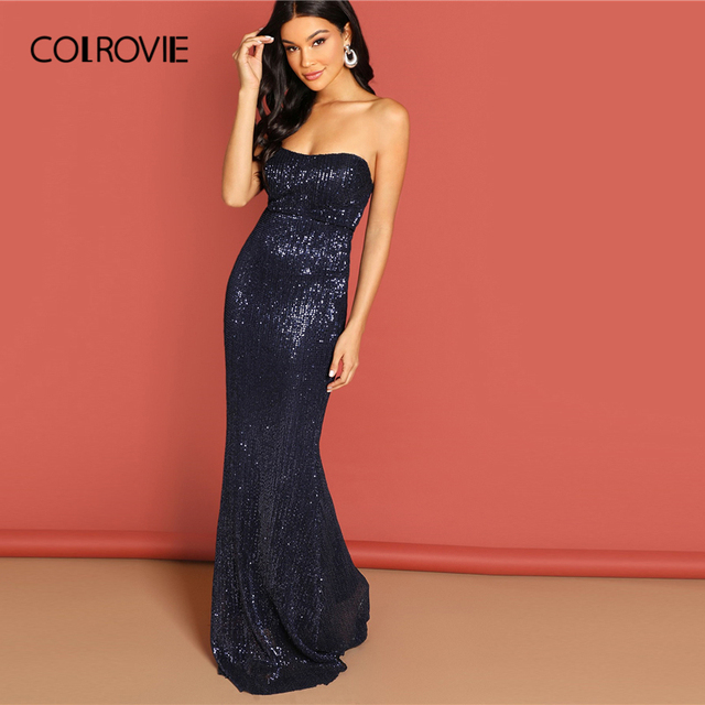 9ed8eed9aa US $22.99 40% OFF|COLROVIE Navy Strapless Mesh Sequin Party Bodycon Evening  Gown Dress Women 2019 High Waist Zipper Night Out Sexy Slim Maxi Dress-in  ...