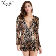 a13e1652791 2019 New Summer Deep V Neck Long Sleeve Rompers Women Sequin Jumpsuit Sexy  Short Club Party Bodycon Jumpsuits Playsuit