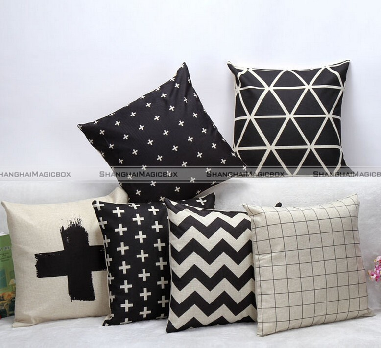 Fashion Black White Cross Plaid Pillow Case Sofa Throw Home Decor 45 45cm Smb 40815307 In Cushion Cover From Garden On Aliexpress Alibaba