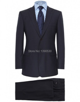2014 HOT SELLING 100 Wool Free Shipping Dark Navy Notch Lapel Two Buttons Two Piece Italian