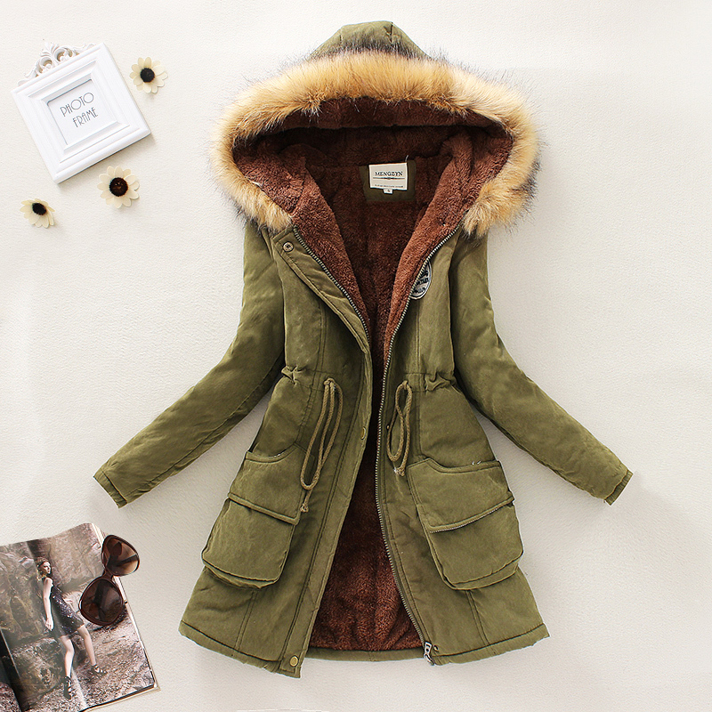 Nice New Winter Women Down Parkas Female Thicken Jacket Coat Long Faux Fur Hooded Slim Warm Overcoat Casual Fleece Inside S2425 hijklnl 2017 new winter female cotton jacket long thicken coat casual korean style women parkas overcoat hyt002