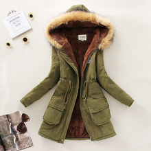 Nice New Winter Women Down Parkas Female Thicken Jacket Coat Long Faux Fur Hooded Slim Warm Overcoat Casual Fleece Inside S2425