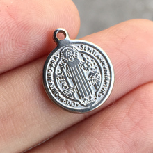 20pcs Diy small Catholic church Saint Benedict of Nursia Exorcism tags stainless steel round Pendant for bracelet Necklace
